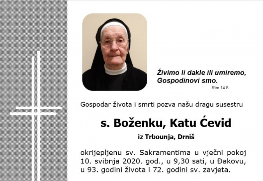 PREMINULA S. BOŽENKA ČEVID