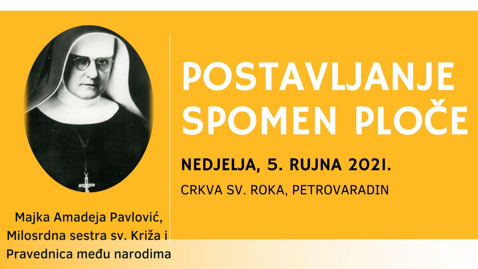 Trenutno pregledavate Otkrivanje spomen ploče u čast s. M. Amadeje Pavlović – najava